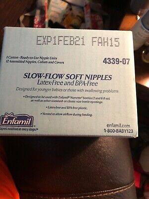 Enfamil Nipple & Ring Slow Flow Soft Infant Baby Disposable Latex Free (12/PK)
