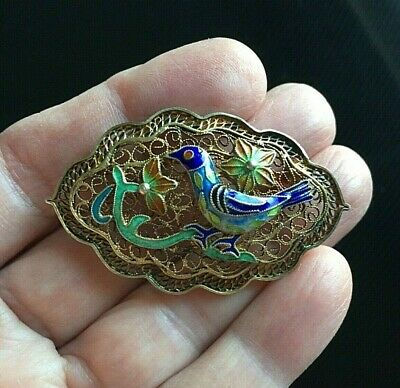 Vintage Chinese Enamel Blue Bird and Flowers Brooch Pin Gilt Silver Filigree
