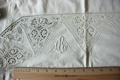 """Exquisite French Handmade Lace Initial """"R"""" Victorian Pillow Case~L-27"""" X W-40"""""""