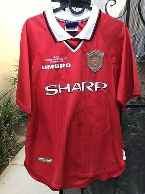 cc99f4e05 Manchester United 1999 Champions League Home Jersey Umbro Shirt Medium M  Vintage