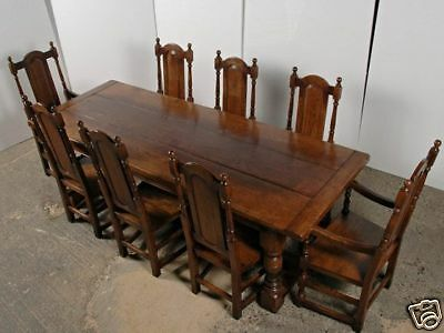 Gothic Farmhouse Refectory Table & Chair - Kitchen Dining Set English
