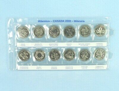 Canada 2000 Millennium 12 Quarter Coin Set 25 cent Coins Uncirculated in Case