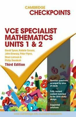 NEW Cambridge Checkpoints VCE Specialist Maths Units 1 and 2 By David Tynan