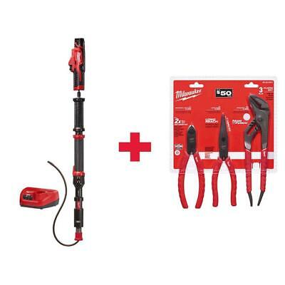 Milwaukee Urinal Auger Drain Cleaning Kit w Pliers Kit Cordless M12 12Volt 4 ft.