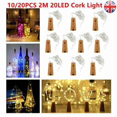 20X 2M 20 LED Wine Bottle Fairy String Light Cork Starry Night Lamp Xmas Wedding