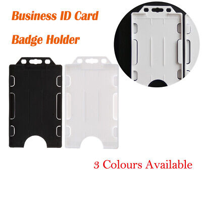 Double Sided Plastic Rigid ID Card Holder Badge Vertical cardholder 58mm x 98mm