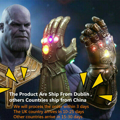 Avengers Infinity War Infinity Gauntlet LED Light Thanos Gloves Cosplay Prop g5t