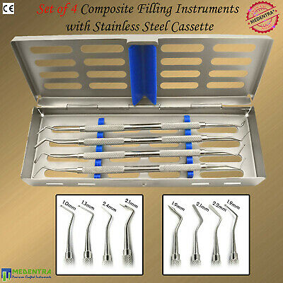 4Pcs Dentists Composite Placement Scalers Restorative Filling Instruments+Tray