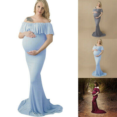 Women Fashion Pregnant Off Shoulder Photography Props Nursing Solid Long Dress