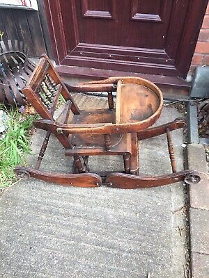 Antique Victorian childs metamorphic high chair / low chair / Rocker Rare