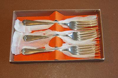 """6 Epns A1 Silver Plated Priestley & Moore Valiant Old English 7.5"""" Table Forks"""