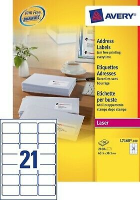 2 100 étiquettes blanches - 63,5 x 38.1mm - NEUF