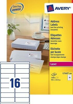 1 600 étiquettes blanches - Laser - 99,1 x 33,9 mm - NEUF