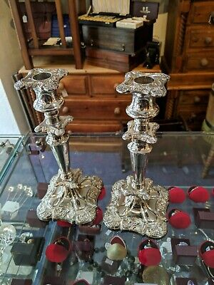 Vintage English Nickle Silver Plate Pair Of Candlesticks Approx