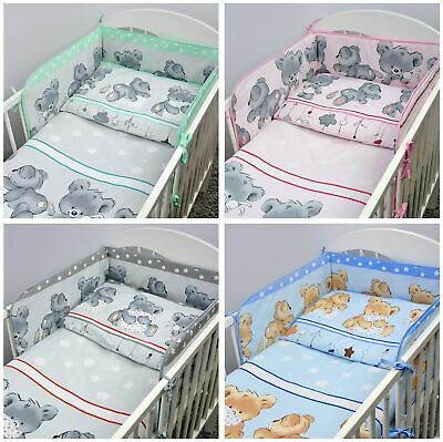 3 Piece Children Bedding Set with Bumper for Baby 120x60 / 140x70 cm Cot Bed