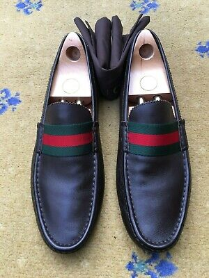 f01f3b246ef New Gucci Mens Shoes Brown Leather Web Loafers UK 12 US 13 46 Green Red  Drivers