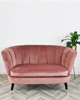 Rose Pink Velvet Scalloped Love Seat Sofa Mid Century Black with Brass Legs Ches