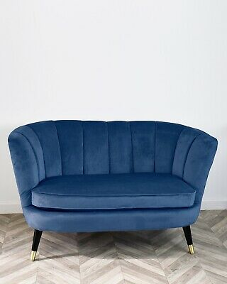 Blue Velvet Scalloped Love Seat Sofa Mid Century Black with Brass Legs Chesterfi