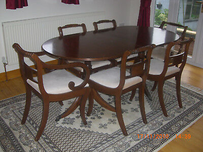 Classic Regency Style Extendable Mahogany Dining Table And Chairs Trafalgar