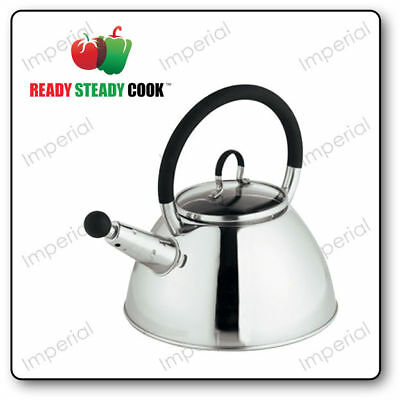 Stainless Steel & Glass 1.5L Whistling Kettle by Ready Steady Cook Camping Stove