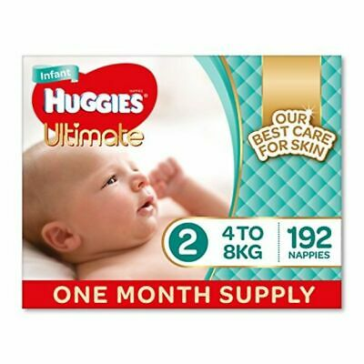 Huggies Ultimate Nappies, Unisex, Size 2 Infant (4-8kg), 192 Count, One-Month