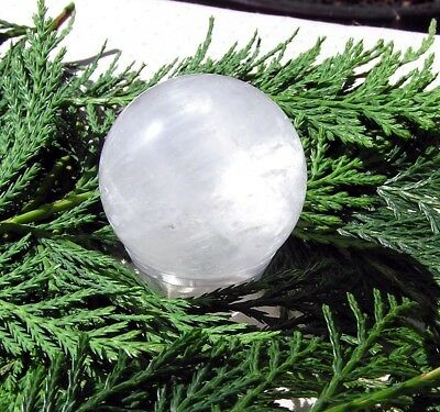 Quartz Solid Crystal Sphere - 40mm Diameter Complete with Stand, Free UK Postage