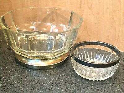 Vintage Crystal Glass Clear Bowls Silverplate Base / Rim Set 2 Made In Italy