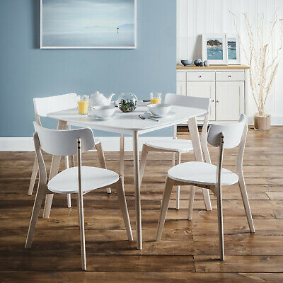 Casa Dining Set with 4 Chairs in White and Limed Oak Finish by Julian Bowen