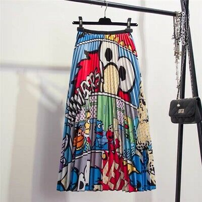 a72fb37d3d Lovely Cartoon Printed Women's Summer Skirt Chic Pleated Bohemia Casual  Dresses