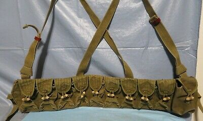 Vintage Military Army 10 Pocket Over Shoulder Ammo Belt