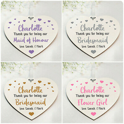 Bridesmaid Flower Girl Maid of Honour PERSONALISED Thank You Gifts Plaques Signs