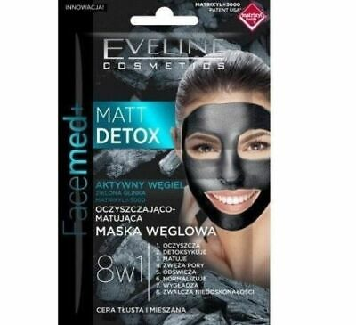 EVELINE 8IN1 CARBON FACE MASK MATT DETOX PURIFYING & MATTIFYING 2X5ml