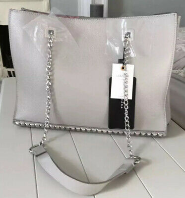 d98585d608 Ladies Zara Woman Grey 100% Grained Leather Studded Tote Bag BNWT RRP £89.99