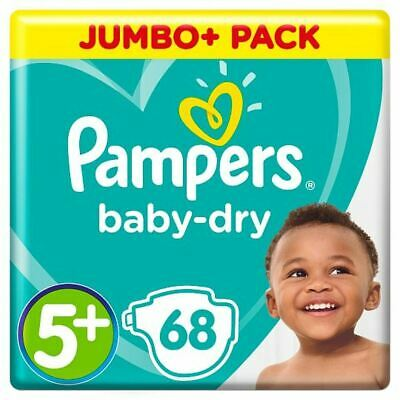 Pampers Baby Dry Size 5+ Jumbo+ Pack 68 Nappies