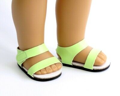 Lime Green Strappy Sandals with Velcro Tab, fits 18 inch American Girl Dolls NEW