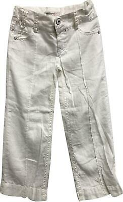 PRE-OWNED Girls Autograph White Linen Trousers Size 6 Years KM326