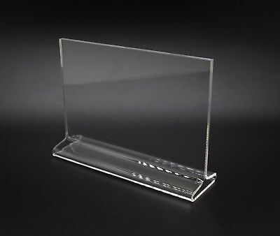 7 x 5 Acrylic Sign Holder for Tabletops, Horizontal, Top Insert, T-style - Clear