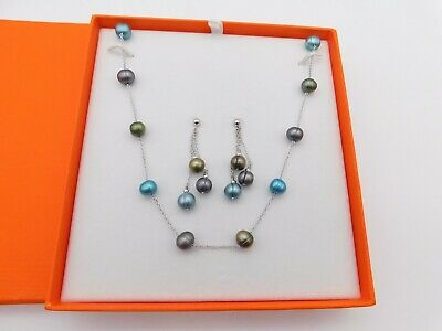 """Mandarin Sterling Silver .925 Cultured Pearl Necklace & Earring Set 36"""""""