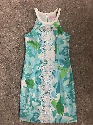655352d9ba5362 LILLY PULITZER Shift DRESS First Impression Poolside BLUE Vintage Retro 0