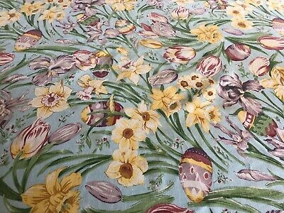 Vintage Tablecloth Easter Eggs Daffodils Tulips Round