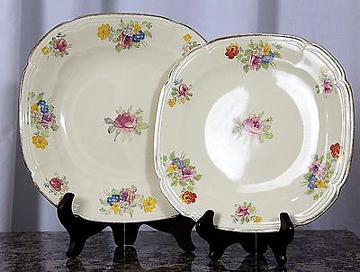 """2pc ALFRED MEAKIN ROYAL MARIGOLD PORCELAIN DINNER DESSERT SQUARE PLATE 8"""" and 9"""""""