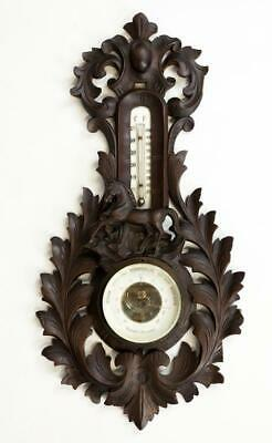Carved Wood Barometer Thermometer