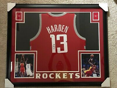56434ff5d James Harden Autographed Signed Houston Rockets Custom Framed Jersey  Beckett COA