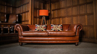 Tetrad Grand Chatsworth Tan Brown Leather Chesterfield 3/4 Seater Club Sofa