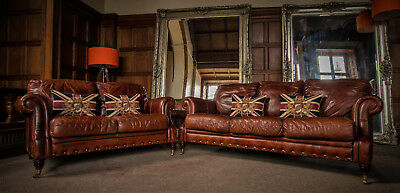 PAIR of VICTORIAN STYLE CHESTNUT ANTIQUE TAN BROWN LEATHER 3&2 SEATER CLUB SOFAS