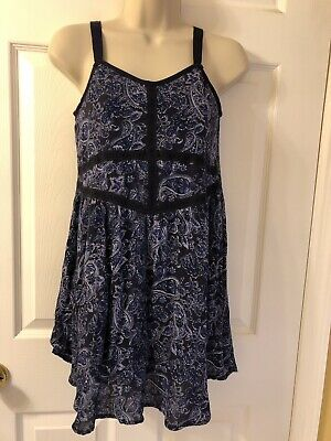 02a4139e424f8 Zoe & Rose band of gypsies Blue Floral Top Sz M Women Blouse Junior Dress  New
