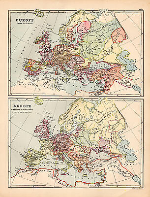 Map of Europe 12th and 16th Century  Large 1880 Original Antique