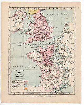Map Of England & France 1907