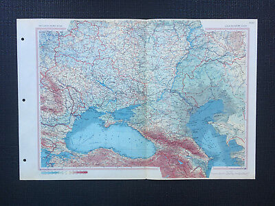 Map Of USSR Russia In Europe South 1967 Large Vintage