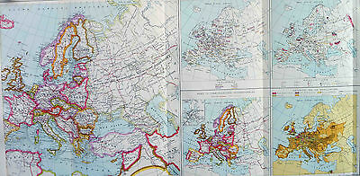 Map of Europe political industries French Large 1925 Original Antique